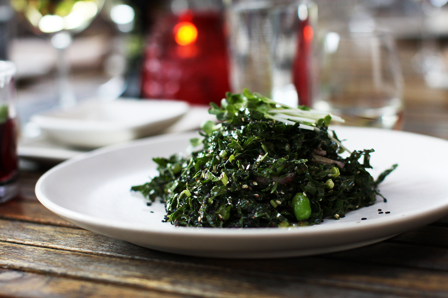 Shaved kale with edamame, shallot and lemon at Yakuza Lounge Portland